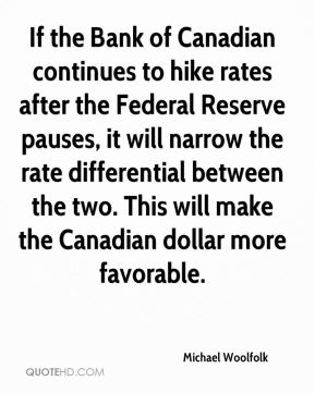 Michael Woolfolk  - If the Bank of Canadian continues to hike rates after the Federal Reserve pauses, it will narrow the rate differential between the two. This will make the Canadian dollar more favorable.