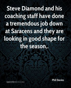 Steve Diamond and his coaching staff have done a tremendous job down at Saracens and they are looking in good shape for the season.