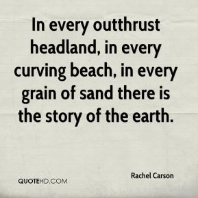 Rachel Carson  - In every outthrust headland, in every curving beach, in every grain of sand there is the story of the earth.