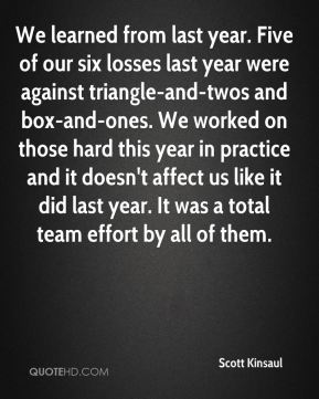 Scott Kinsaul  - We learned from last year. Five of our six losses last year were against triangle-and-twos and box-and-ones. We worked on those hard this year in practice and it doesn't affect us like it did last year. It was a total team effort by all of them.