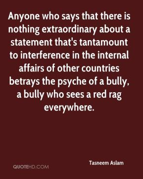 Tasneem Aslam  - Anyone who says that there is nothing extraordinary about a statement that's tantamount to interference in the internal affairs of other countries betrays the psyche of a bully, a bully who sees a red rag everywhere.