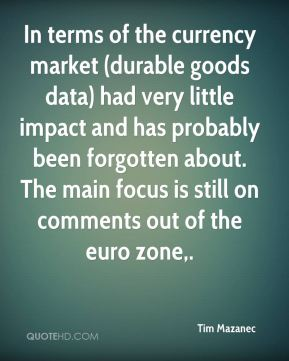 Tim Mazanec  - In terms of the currency market (durable goods data) had very little impact and has probably been forgotten about. The main focus is still on comments out of the euro zone.