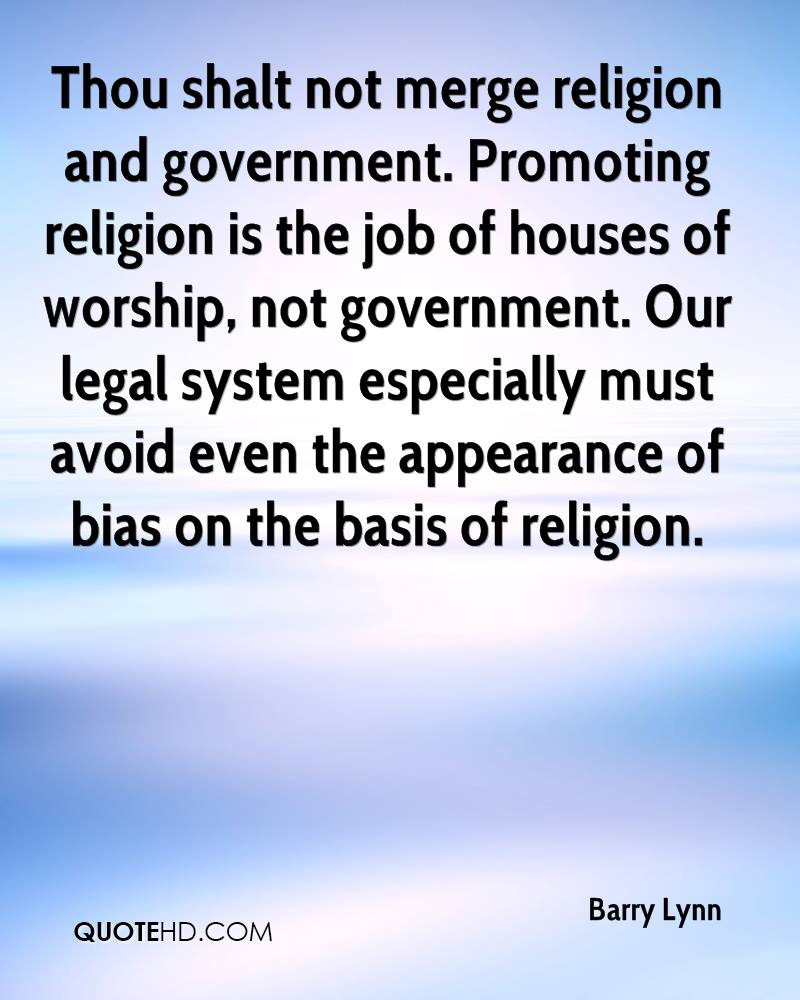 Thou shalt not merge religion and government. Promoting religion is the job of houses of worship, not government. Our legal system especially must avoid even the appearance of bias on the basis of religion.