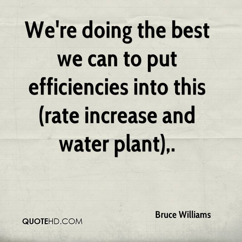 We're doing the best we can to put efficiencies into this (rate increase and water plant).