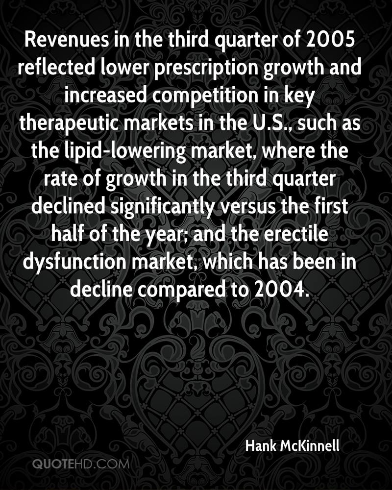 Revenues in the third quarter of 2005 reflected lower prescription growth and increased competition in key therapeutic markets in the U.S., such as the lipid-lowering market, where the rate of growth in the third quarter declined significantly versus the first half of the year; and the erectile dysfunction market, which has been in decline compared to 2004.
