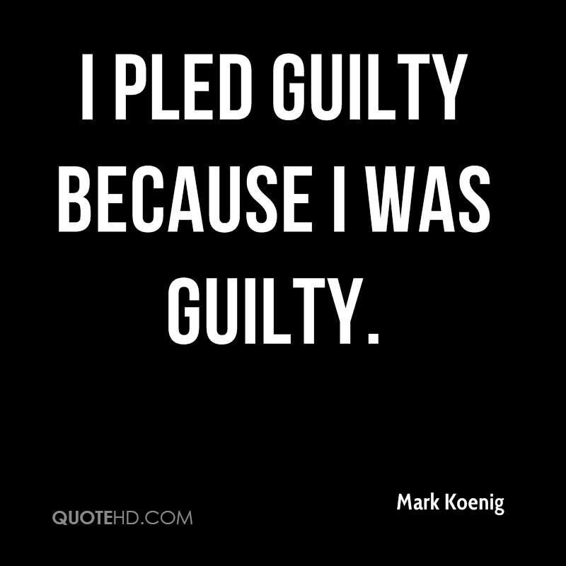 I pled guilty because I was guilty.
