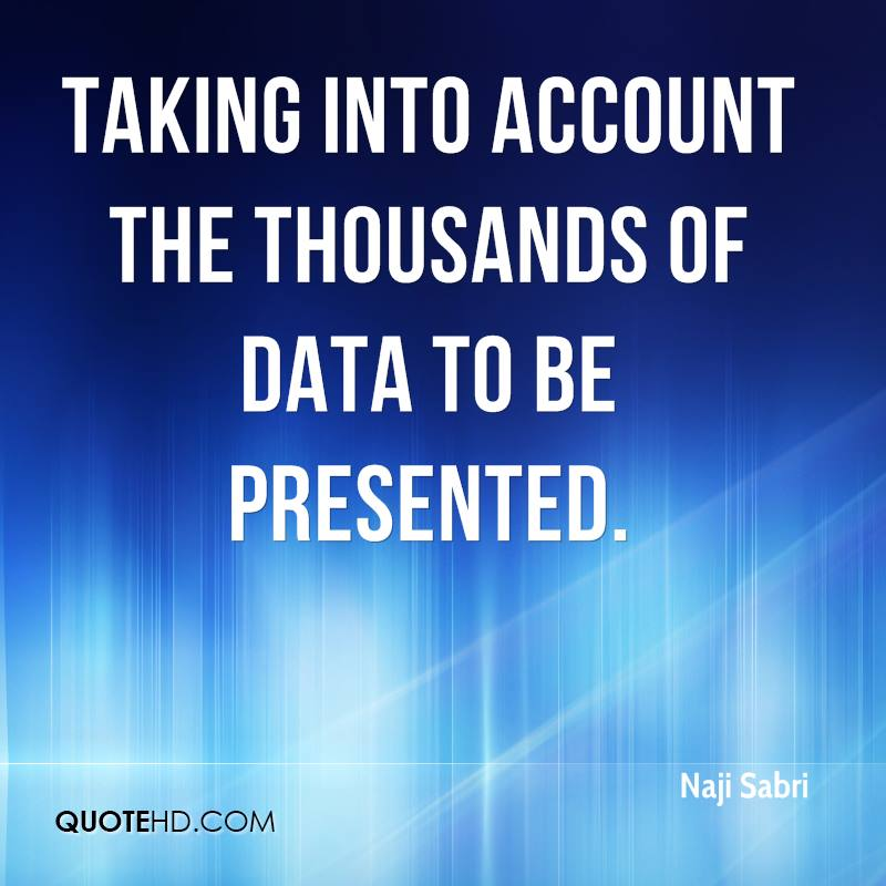 taking into account the thousands of data to be presented.
