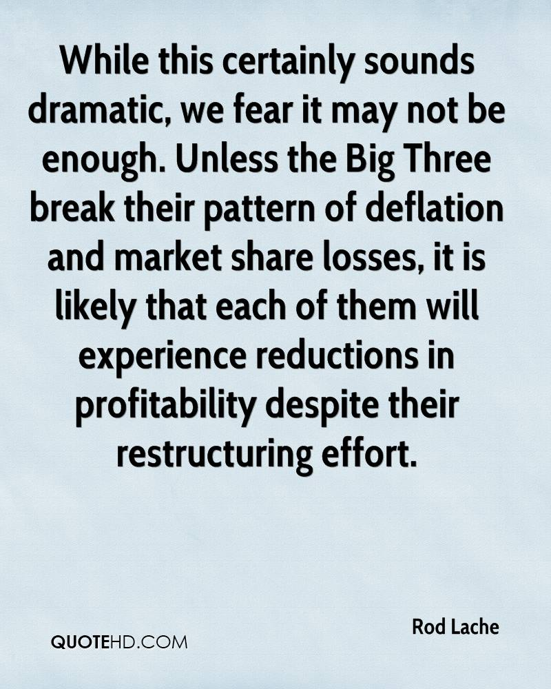 While this certainly sounds dramatic, we fear it may not be enough. Unless the Big Three break their pattern of deflation and market share losses, it is likely that each of them will experience reductions in profitability despite their restructuring effort.