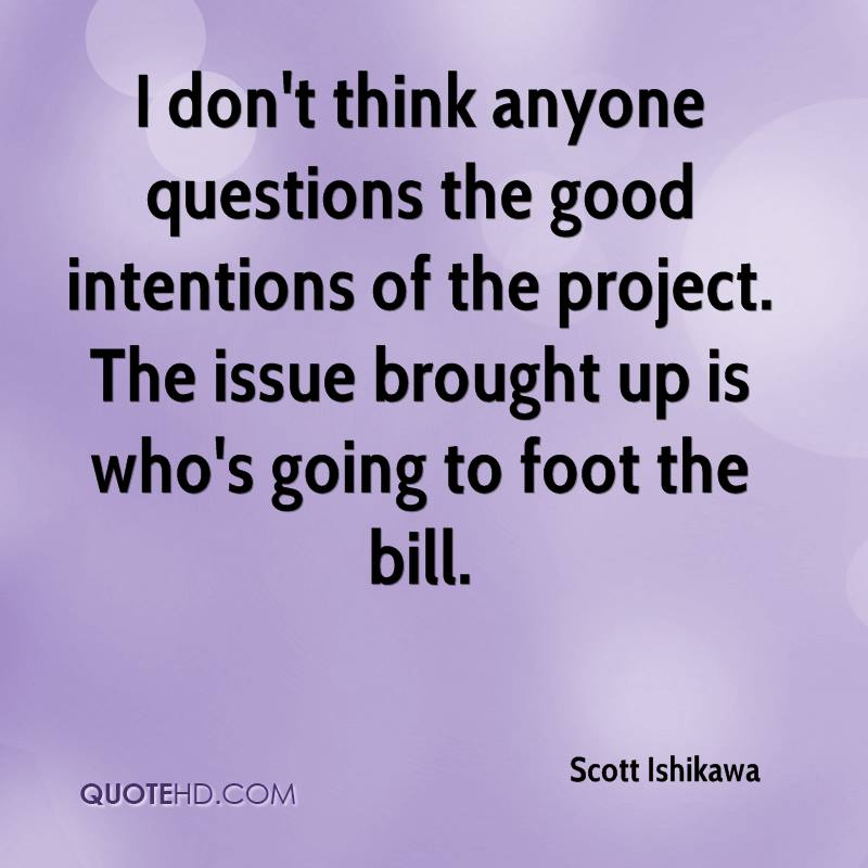 I don't think anyone questions the good intentions of the project. The issue brought up is who's going to foot the bill.