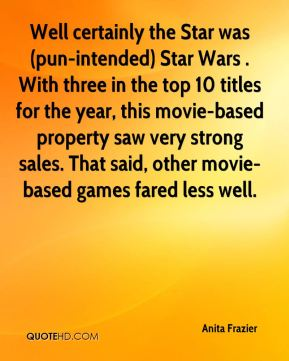 Anita Frazier - Well certainly the Star was (pun-intended) Star Wars . With three in the top 10 titles for the year, this movie-based property saw very strong sales. That said, other movie-based games fared less well.