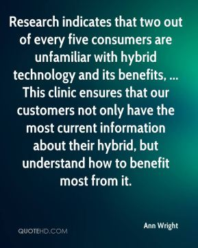 Research indicates that two out of every five consumers are unfamiliar with hybrid technology and its benefits, ... This clinic ensures that our customers not only have the most current information about their hybrid, but understand how to benefit most from it.