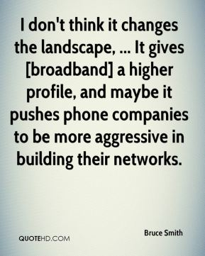 Bruce Smith - I don't think it changes the landscape, ... It gives [broadband] a higher profile, and maybe it pushes phone companies to be more aggressive in building their networks.
