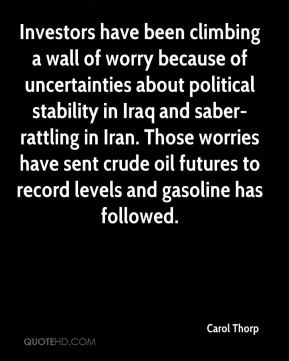 Carol Thorp - Investors have been climbing a wall of worry because of uncertainties about political stability in Iraq and saber-rattling in Iran. Those worries have sent crude oil futures to record levels and gasoline has followed.
