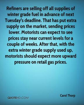 Carol Thorp - Refiners are selling off all supplies of winter grade fuel in advance of next Tuesday's deadline. That has put extra supply on the market, sending prices lower. Motorists can expect to see prices stay near current levels for a couple of weeks. After that, with the extra winter grade supply used up, motorists should expect more upward pressure on retail gas prices.