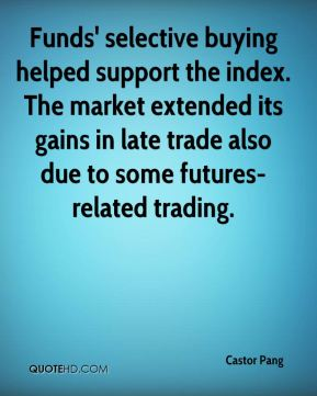 Castor Pang - Funds' selective buying helped support the index. The market extended its gains in late trade also due to some futures-related trading.