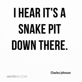 Charles Johnson - I hear it's a snake pit down there.