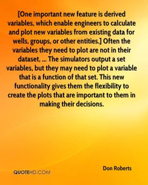 [One important new feature is derived variables, which enable engineers to calculate and plot new variables from existing data for wells, groups, or other entities.] Often the variables they need to plot are not in their dataset, ... The simulators output a set variables, but they may need to plot a variable that is a function of that set. This new functionality gives them the flexibility to create the plots that are important to them in making their decisions.