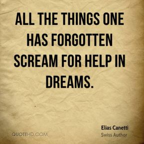 All the things one has forgotten scream for help in dreams.
