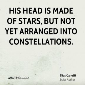 His head is made of stars, but not yet arranged into constellations.