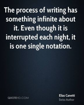 The process of writing has something infinite about it. Even though it is interrupted each night, it is one single notation.