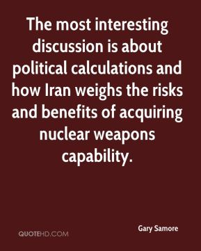 The most interesting discussion is about political calculations and how Iran weighs the risks and benefits of acquiring nuclear weapons capability.