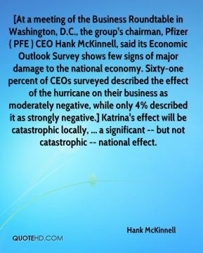 [At a meeting of the Business Roundtable in Washington, D.C., the group's chairman, Pfizer ( PFE ) CEO Hank McKinnell, said its Economic Outlook Survey shows few signs of major damage to the national economy. Sixty-one percent of CEOs surveyed described the effect of the hurricane on their business as moderately negative, while only 4% described it as strongly negative.] Katrina's effect will be catastrophic locally, ... a significant -- but not catastrophic -- national effect.
