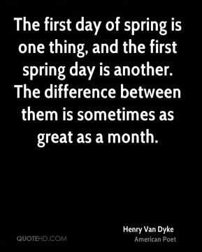 The first day of spring is one thing, and the first spring day is another. The difference between them is sometimes as great as a month.