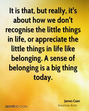 James Caan - It is that, but really, it's about how we don't recognise the little things in life, or appreciate the little things in life like belonging. A sense of belonging is a big thing today.