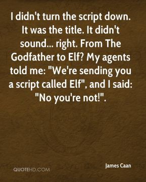 """James Caan - I didn't turn the script down. It was the title. It didn't sound... right. From The Godfather to Elf? My agents told me: """"We're sending you a script called Elf"""", and I said: """"No you're not!""""."""