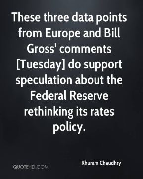 Khuram Chaudhry  - These three data points from Europe and Bill Gross' comments [Tuesday] do support speculation about the Federal Reserve rethinking its rates policy.
