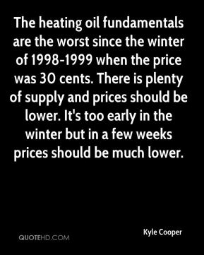 Kyle Cooper  - The heating oil fundamentals are the worst since the winter of 1998-1999 when the price was 30 cents. There is plenty of supply and prices should be lower. It's too early in the winter but in a few weeks prices should be much lower.