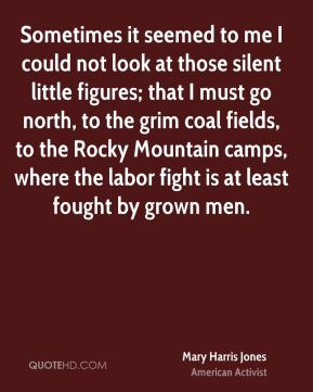 Mary Harris Jones - Sometimes it seemed to me I could not look at those silent little figures; that I must go north, to the grim coal fields, to the Rocky Mountain camps, where the labor fight is at least fought by grown men.