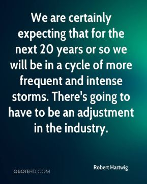 Robert Hartwig  - We are certainly expecting that for the next 20 years or so we will be in a cycle of more frequent and intense storms. There's going to have to be an adjustment in the industry.