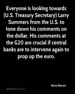 Steve Barrow  - Everyone is looking towards (U.S. Treasury Secretary) Larry Summers from the U.S. to tone down his comments on the dollar. His comments at the G20 are crucial if central banks are to intervene again to prop up the euro.