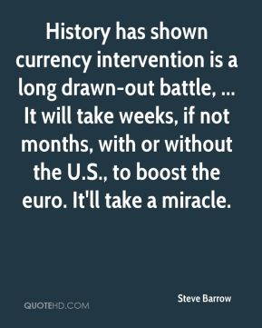 Steve Barrow  - History has shown currency intervention is a long drawn-out battle, ... It will take weeks, if not months, with or without the U.S., to boost the euro. It'll take a miracle.