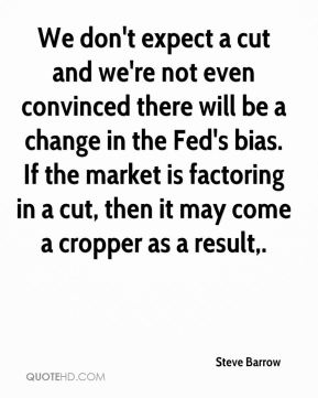Steve Barrow  - We don't expect a cut and we're not even convinced there will be a change in the Fed's bias. If the market is factoring in a cut, then it may come a cropper as a result.