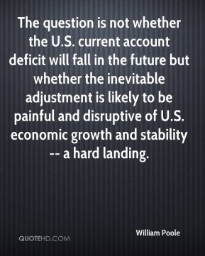 William Poole  - The question is not whether the U.S. current account deficit will fall in the future but whether the inevitable adjustment is likely to be painful and disruptive of U.S. economic growth and stability -- a hard landing.