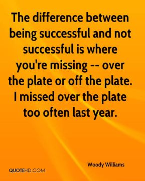 The difference between being successful and not successful is where you're missing -- over the plate or off the plate. I missed over the plate too often last year.