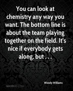 Woody Williams  - You can look at chemistry any way you want. The bottom line is about the team playing together on the field. It's nice if everybody gets along, but . . .