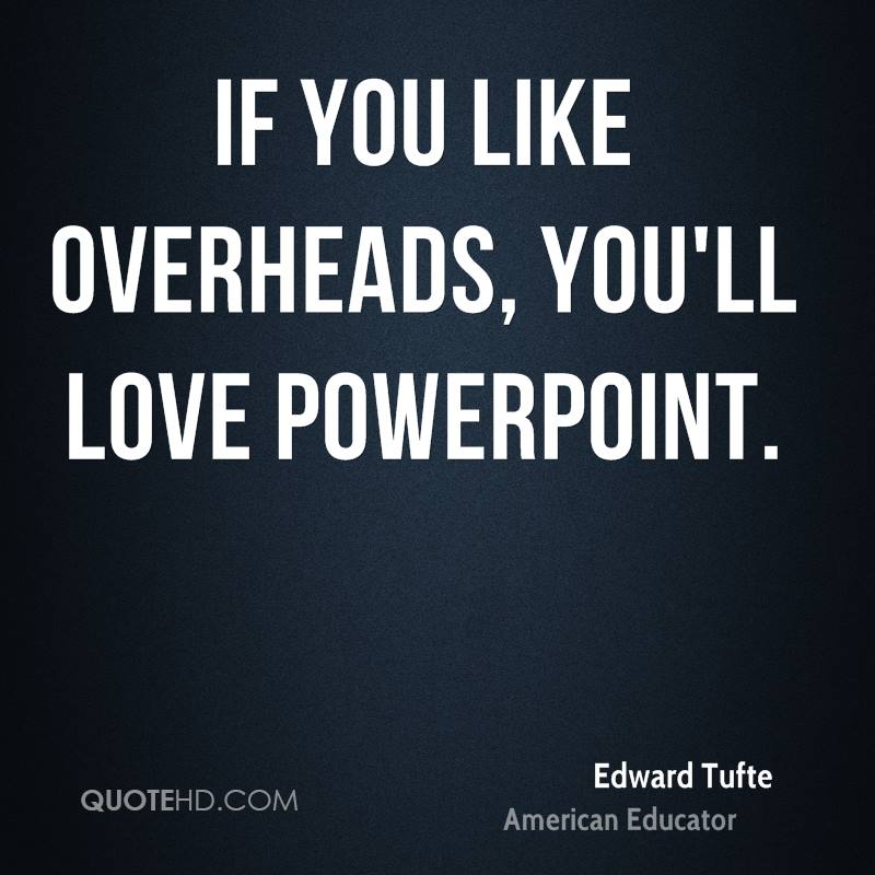 If you like overheads, you'll love PowerPoint.
