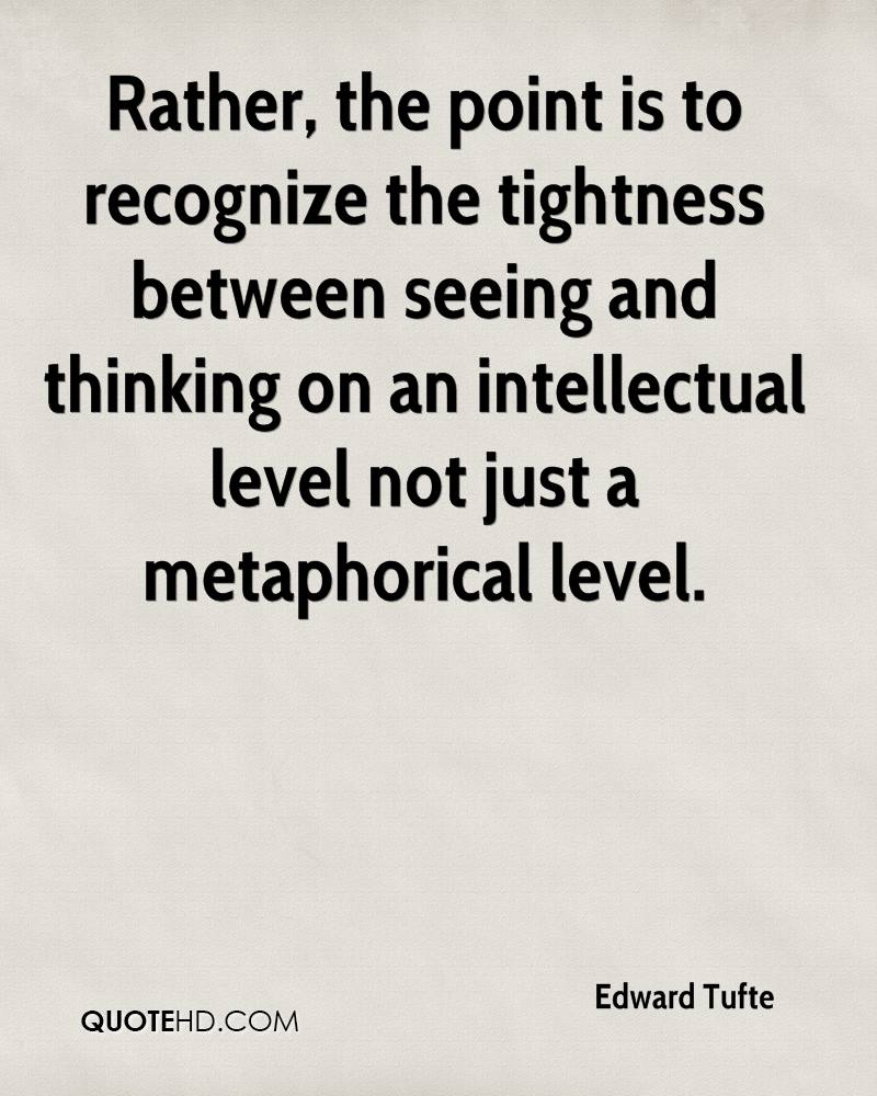 Rather, the point is to recognize the tightness between seeing and thinking on an intellectual level not just a metaphorical level.
