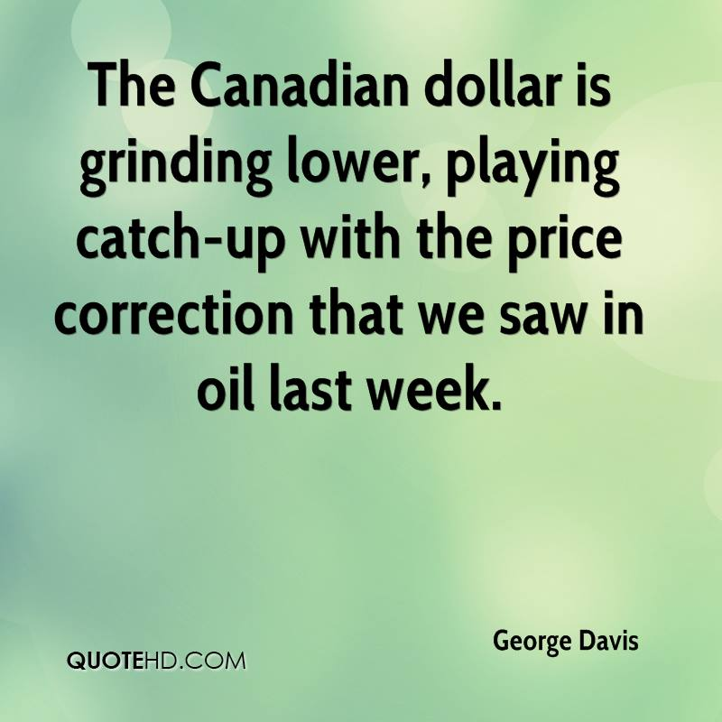 The Canadian dollar is grinding lower, playing catch-up with the price correction that we saw in oil last week.