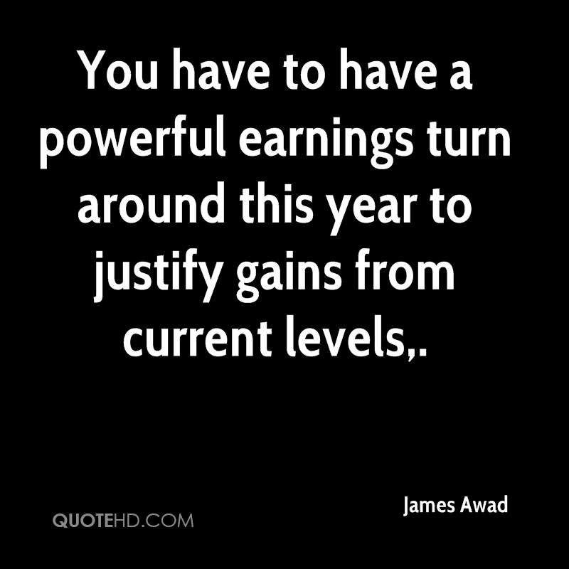 You have to have a powerful earnings turn around this year to justify gains from current levels.