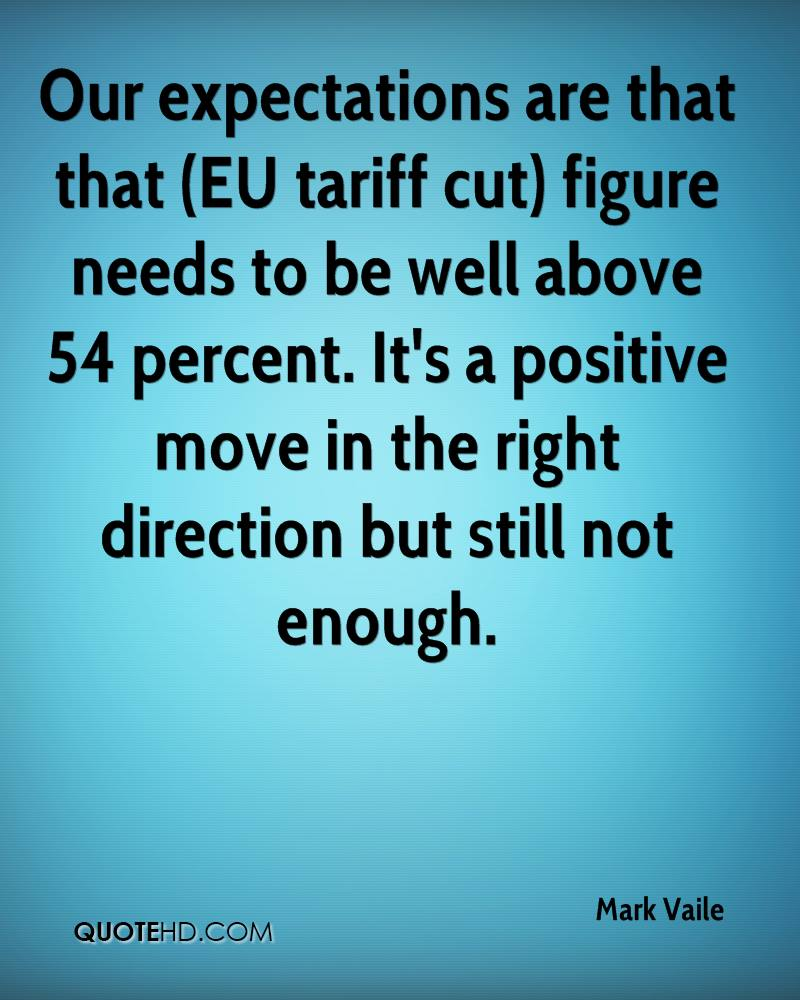 Our expectations are that that (EU tariff cut) figure needs to be well above 54 percent. It's a positive move in the right direction but still not enough.