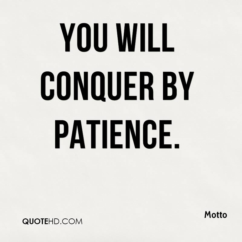 You will conquer by patience.