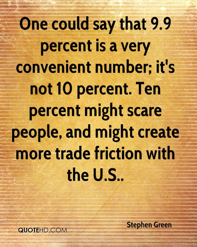One could say that 9.9 percent is a very convenient number; it's not 10 percent. Ten percent might scare people, and might create more trade friction with the U.S..