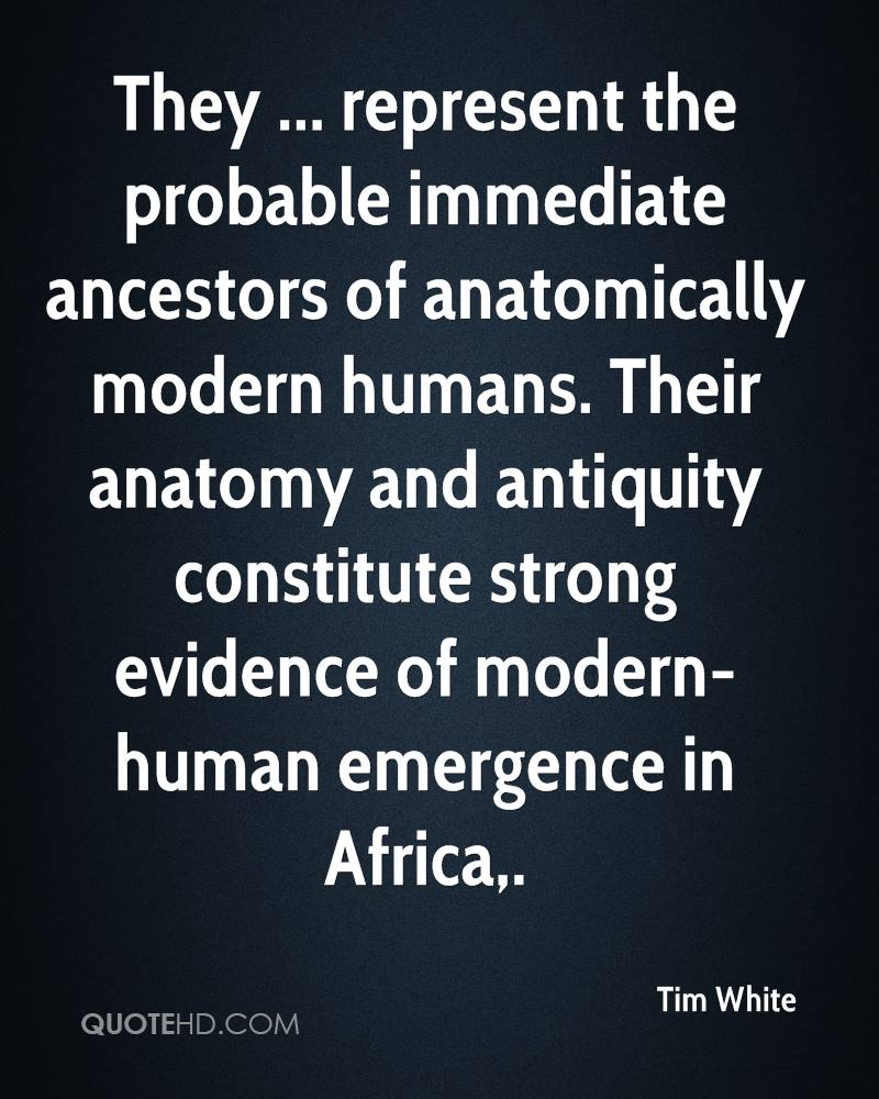 They ... represent the probable immediate ancestors of anatomically modern humans. Their anatomy and antiquity constitute strong evidence of modern-human emergence in Africa.