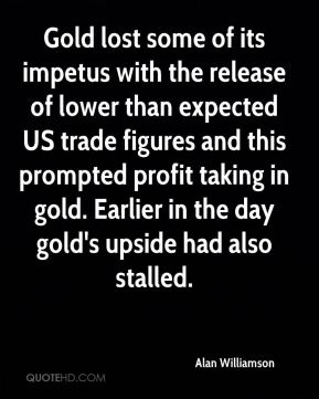 Gold lost some of its impetus with the release of lower than expected US trade figures and this prompted profit taking in gold. Earlier in the day gold's upside had also stalled.