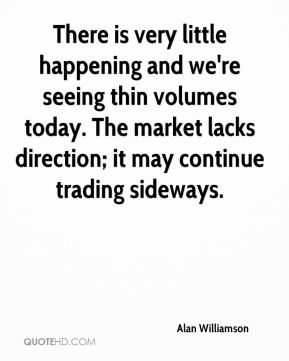 There is very little happening and we're seeing thin volumes today. The market lacks direction; it may continue trading sideways.