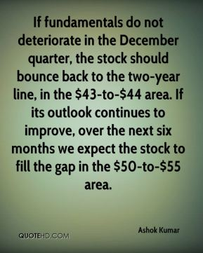 Ashok Kumar - If fundamentals do not deteriorate in the December quarter, the stock should bounce back to the two-year line, in the $43-to-$44 area. If its outlook continues to improve, over the next six months we expect the stock to fill the gap in the $50-to-$55 area.